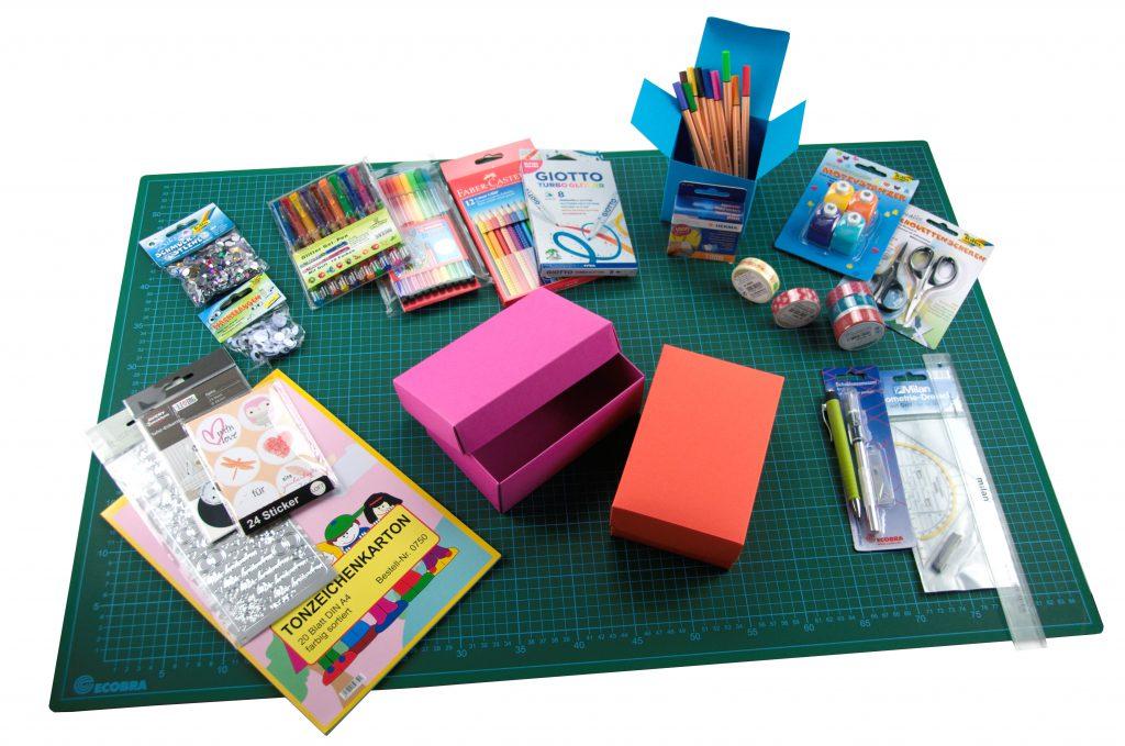 Material das für die Gestaltung der Buntboxen gebraucht wird