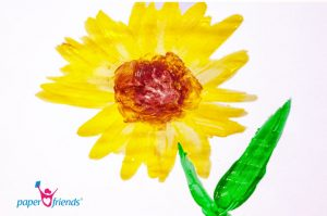 Herbstbasteln: Sonnenblume aus Fingerfarben