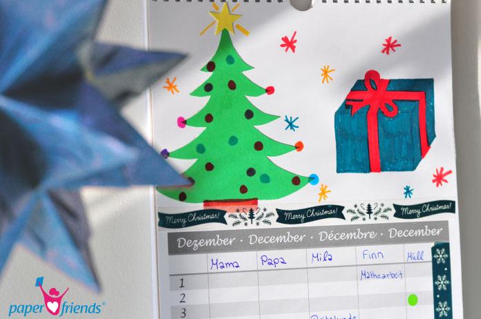 Dekoration des Bastelkalenders Dezember