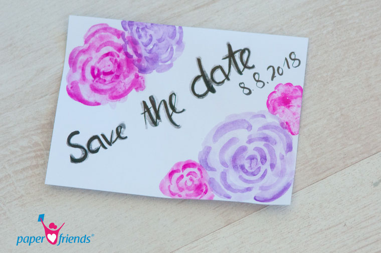 Save the date Karte Blumen lila pink