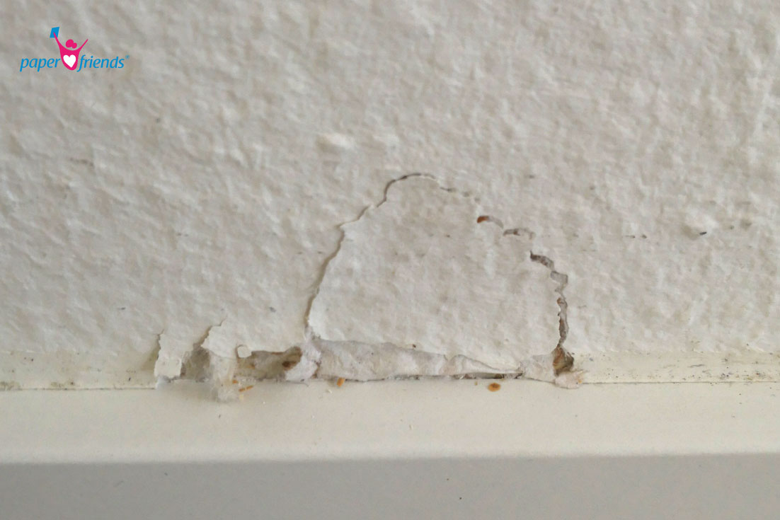 Tapete an der Wand festgeklebt